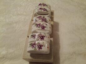 Six Hammersley bone china napkin rings Victorian violets design