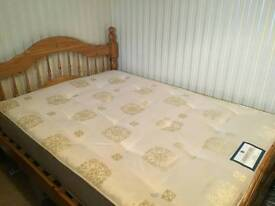 Double pine bed frame and mattress