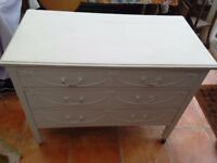 Small chest of drawers, needs some TLC, nice detailing work on drawers.