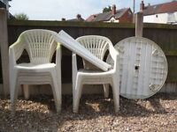 White, Plastic Garden Furniture - 8 chairs and 1 table
