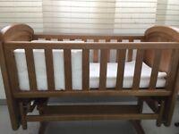 Solid wood gliding cot crib