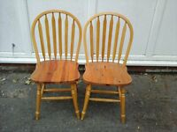 pair of pine dining chairs