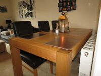 6 Seater Oak dining table and chairs