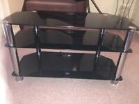 TV stand black glass and silver