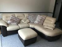 Cream and brown leather corner settee and puff