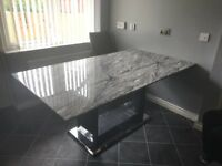 Marble effect granite table and 4 chairs