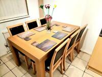 Modern Wooden table in beach with 6 chairs