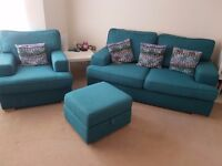 REDUCED Sofa, chair & storage footstool (inc cushions) for sale
