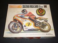 A vintage Matchbox un made plastic kit of BARRY SHEEN S SUZUKI RGA 500, MOTOR BIKE