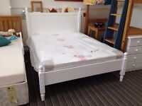 5ft King size bed frame all solid pine in a whitewash finish classic Florence style, great condition