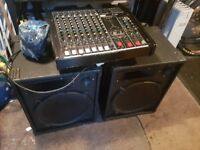 Leem powered mixer amp and speakers