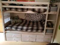Kidspace whitewashed bunk bed with guest bed & storage drawers