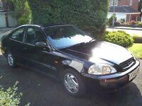 1996 HONDA CIVIC COUPE 1.6I SR AUTO BLACK WITH MOT - 66,843 MILES
