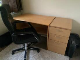 Desk, cupboard and chair