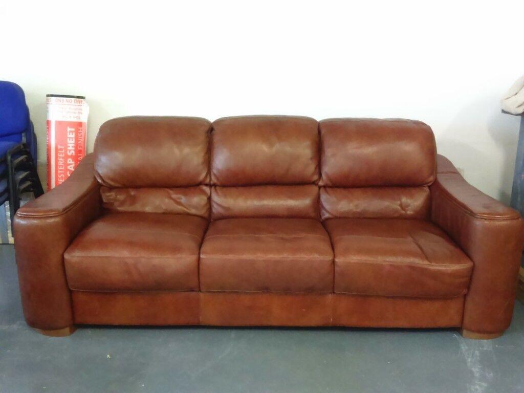 Polo Divani Italian Leather Three Seater Sofa