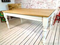 Farmhouse Dining Table - All Sizes - Any Farrow & Ball Colour Extending Oak AB Grade