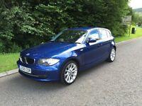 2008 (58) BMW 1 Series 2.0L 118d SE 5dr Metallic Blue, Low Miles (64,000), FSH (BMW), Top Condition