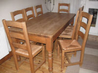 Solid pine farmhouse dining table with 8 strong Bretton solid wood chairs, 6ft long, great quality