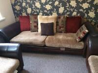 DFS Perez sofa Set splits in half leather & fabric. Like New!