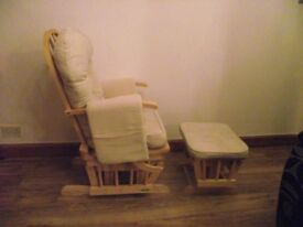 glider chair with glider foot stool. multiple positions back. chair cushions been to launderette