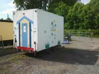 twin wheel trailer box shop used to sell beach goods