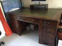 Beautiful desk with drawers and green leather top