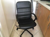 Office chair black faux leather from ikea. Large and comfortable in perfect working orde