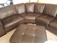 Brown leather corner sofa, basically new, only selling due to house move