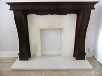 Solid Marble Fireplace & wood surround. Good condition