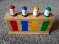 Spring loaded wooden toy block, GALT branded