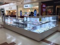 JEWELLERY , WATCH AND GIFT KIOSK DISPLAY COUNTERS AND TOWERS INCLUDING SUNGLASSES CABINET & STORAGE