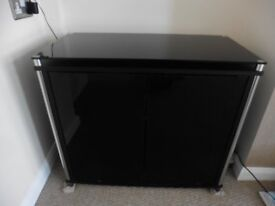BLACK GLASS SIDEBOARD AND TV STAND