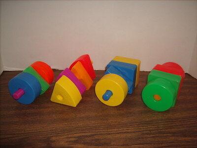 Vintage Fisher Price Plastic Block Shapes & Dowels 19 Piece Lot -Excellent Shape
