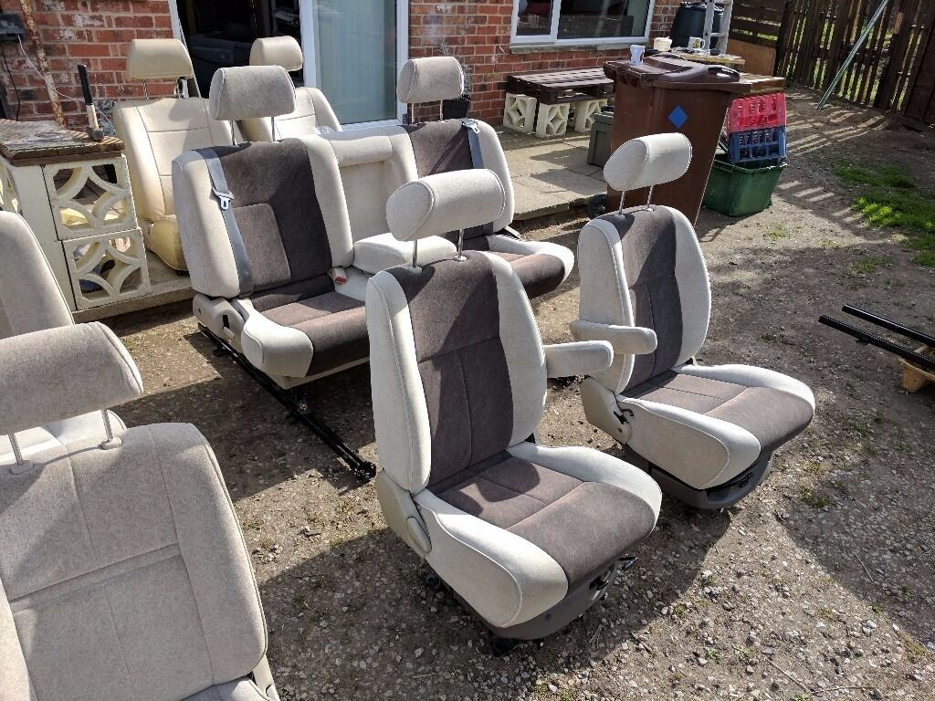 Van captain chair - Camper Van Conversion Swivel Captain Seats And Sliding Triple Bench With Belts Vw T4 T5