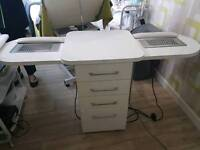 Double nail desk with extractor fans