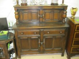 STUNNING ERCOL VINTAGE ELM COURT CABINET. MANY FEATURES. IDEAL AS IS OR PAINTED PROJECT. DELIVERY