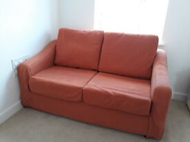 Relyon 2x seat Sofa-bed, Terracotta colour, Sofabed in as-new condition