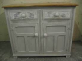 Sideboard. Painted with shabby chic style with oak top