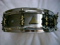 "ABB Custom stainless steel snare drum - 14 x 4"" - London - '80s - Raniero Abbaticola"