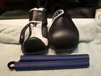 Martial Arts sparring gloves and nunchuks
