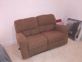 two seater fabric reclining sofa