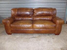 Large Vintage Tan Full Hide Leather Sofa (Suite)