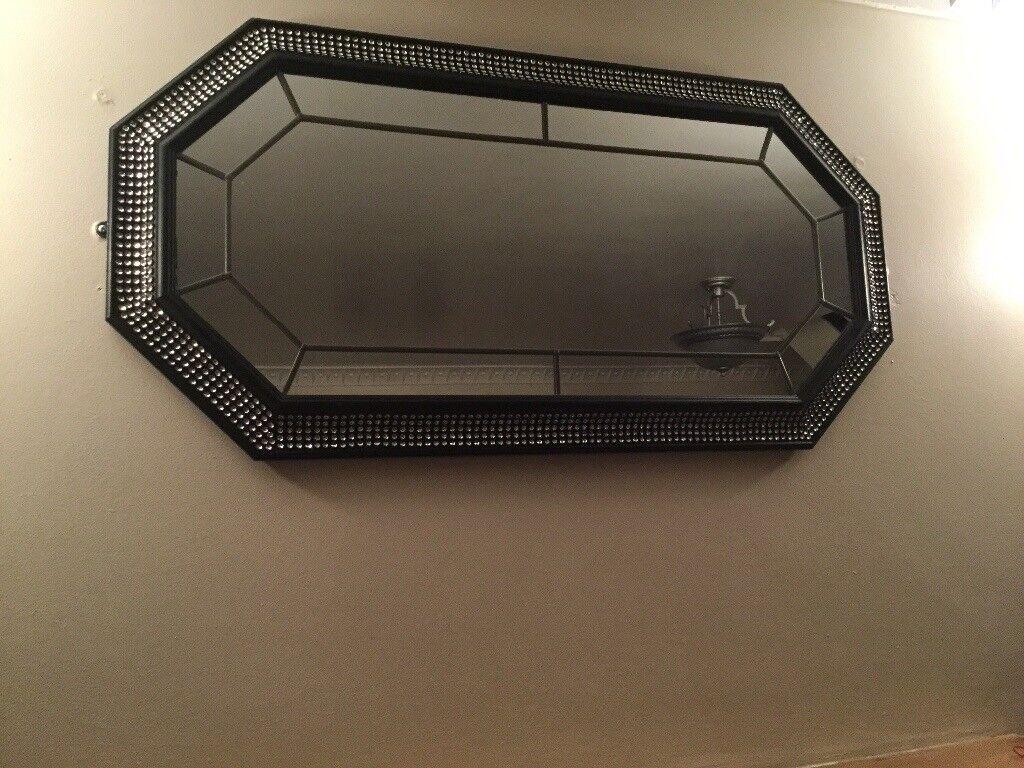 Large BLACK Diamonte Mirror