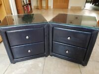 Pair of black, faux-leather bedside tables