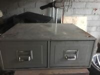 Reclaimed Industrial 2 Drawer Storage Cabinet - Ideal for office space