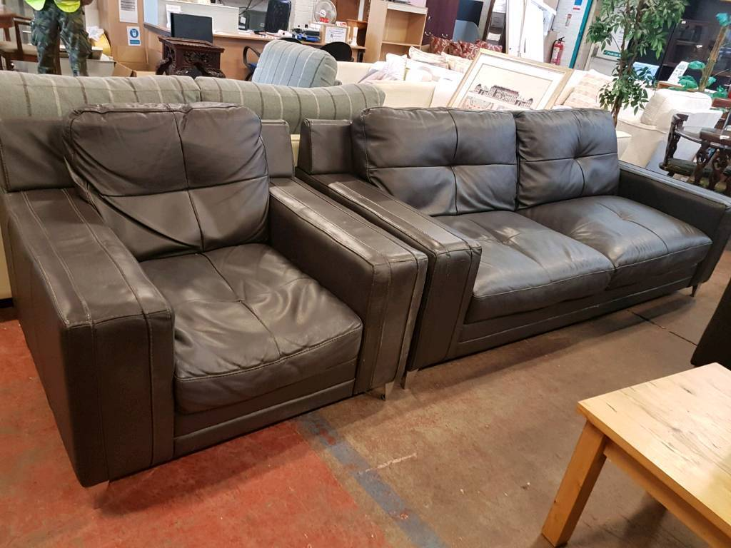 Large brown leather 3 seater sofa with armchair