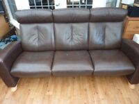 Leather Reclining Sofa - 'Stressless Ekornes'
