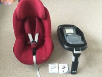 Maxi cosi pearl (group1) car seat colour Robin red with maxi cosi family fix isofix base