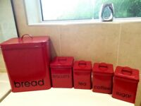 Red five piece Kitchen Storage