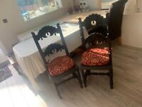 2 X Antique Black Modern Chairs Designer